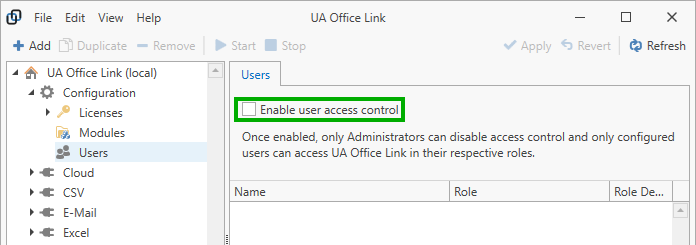 Enable user access control